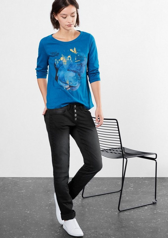 Q/S designed by Straight: Jeans mit Stitchings in black
