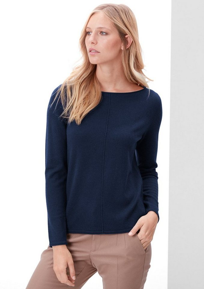 s.Oliver RED LABEL Pulli mit Seide und Kaschmir in dark blue melange