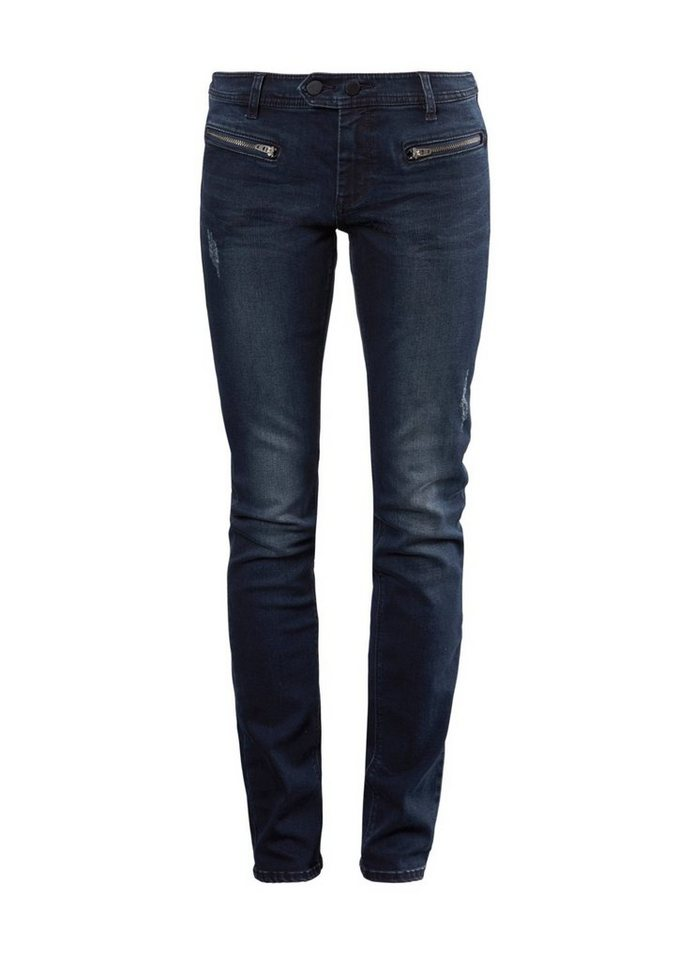 Q/S designed by Slim: Denim mit Zippern in blue denim heave sto