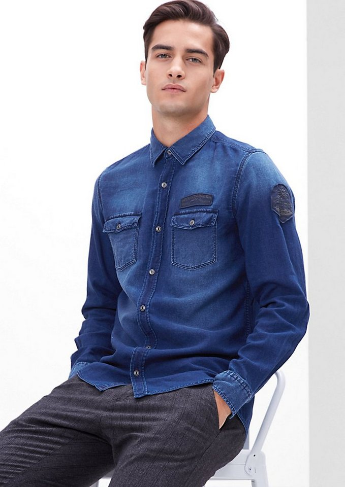 s.Oliver RED LABEL Slim: Jeanshemd mit Patches in blue denim non stret