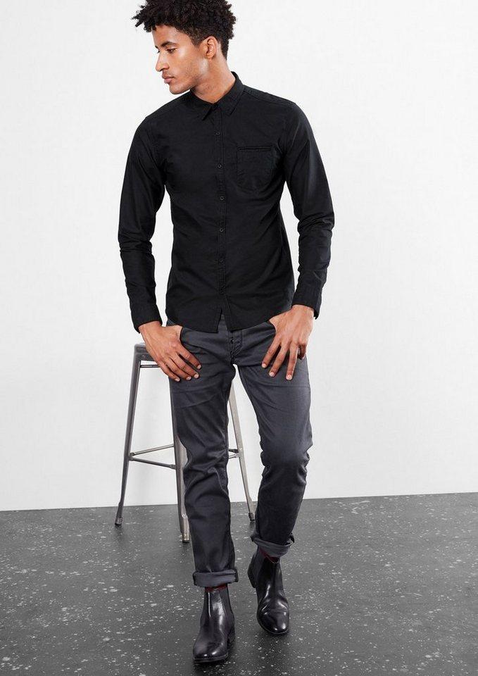 Q/S designed by Extra Slim: Oxford-Hemd in black