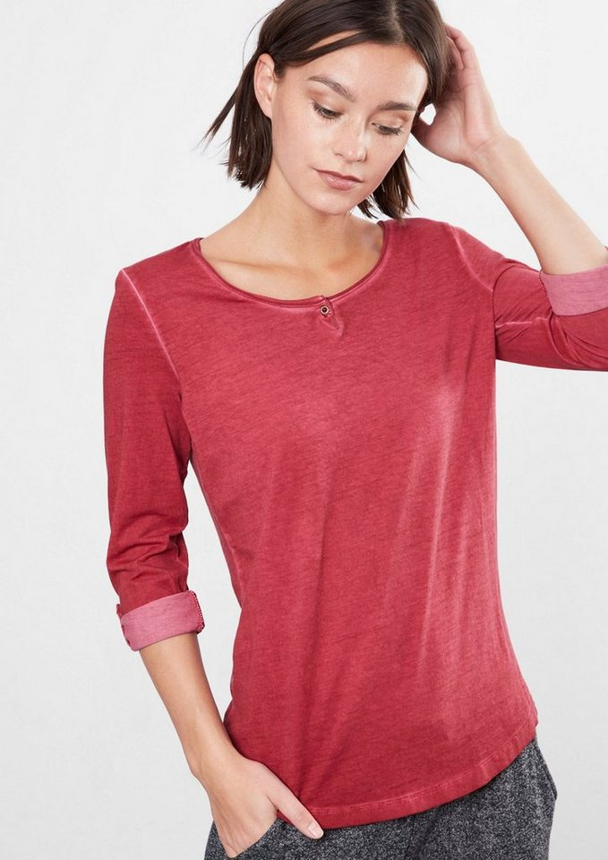 Q/S designed by Langarmshirt in Cold Pigment Dye in autumn red