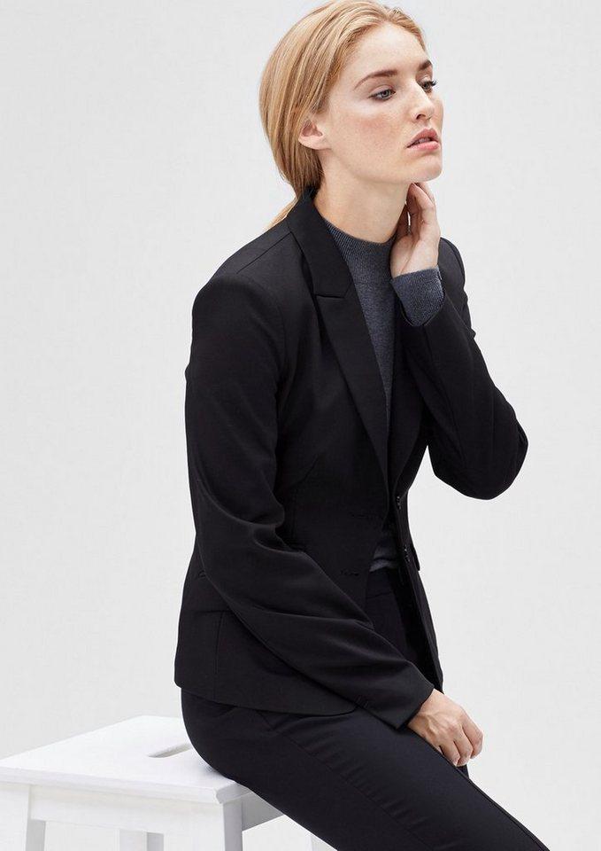 s.Oliver BLACK LABEL Stretch-Blazer mit elegantem Revers in love black