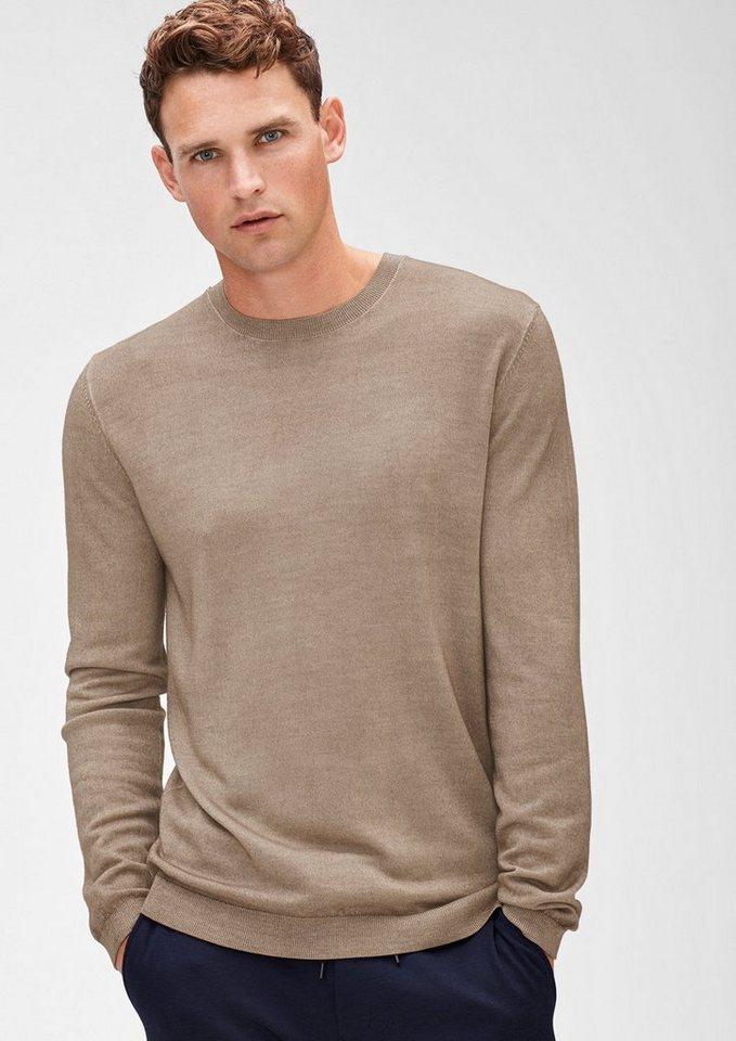 s.Oliver BLACK LABEL Leichter Pullover aus Merinowolle in cashmere
