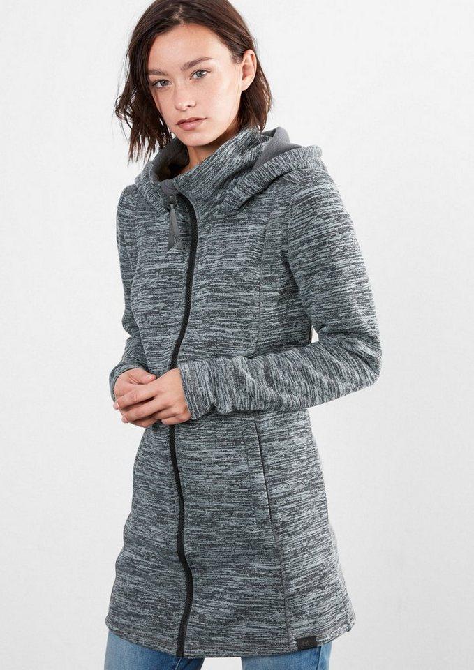 Q/S designed by Melierte Knitwear-Fleecejacke in dark grey AOP