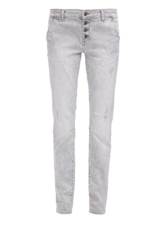 s.Oliver RED LABEL Shape Slim: Jeans mit Farbakzenten in grey denim stretch