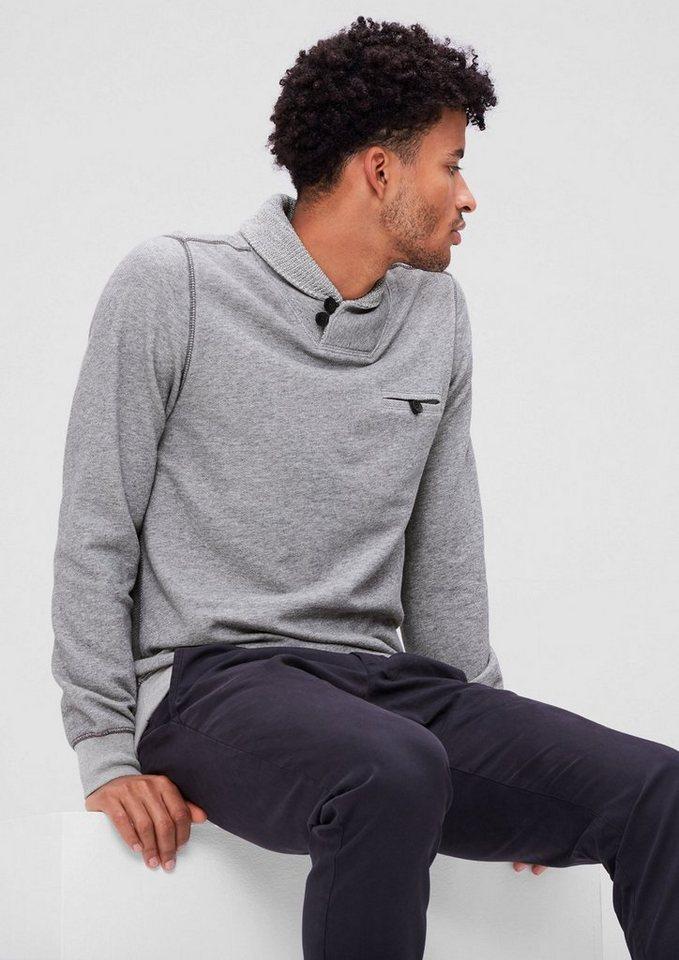 s.Oliver RED LABEL Sweatshirt mit Strickkragen in blend grey