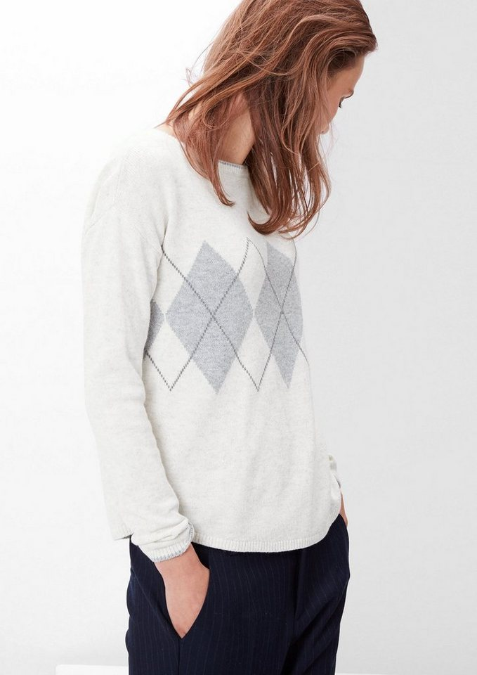 s.Oliver RED LABEL Feiner Pullover mit Argyle-Muster in cream knit