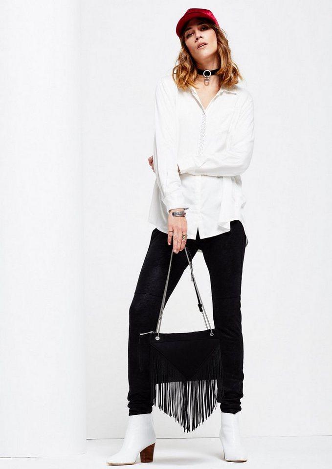 COMMA Glamouröse Abendtasche mit langen Fransen in black