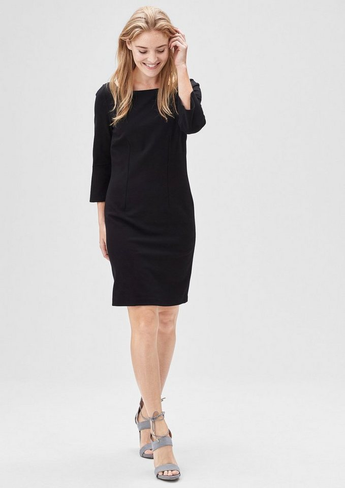 s.Oliver BLACK LABEL Stretch-Kleid mit Trompetenarm in love black
