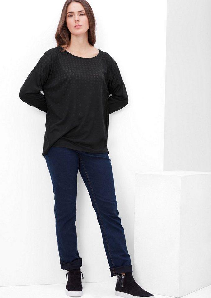 TRIANGLE Langarmshirt mit Sternen-Design in black