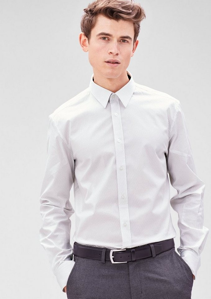 s.Oliver BLACK LABEL Modern Fit: Hemd mit Minimalmuster in white AOP