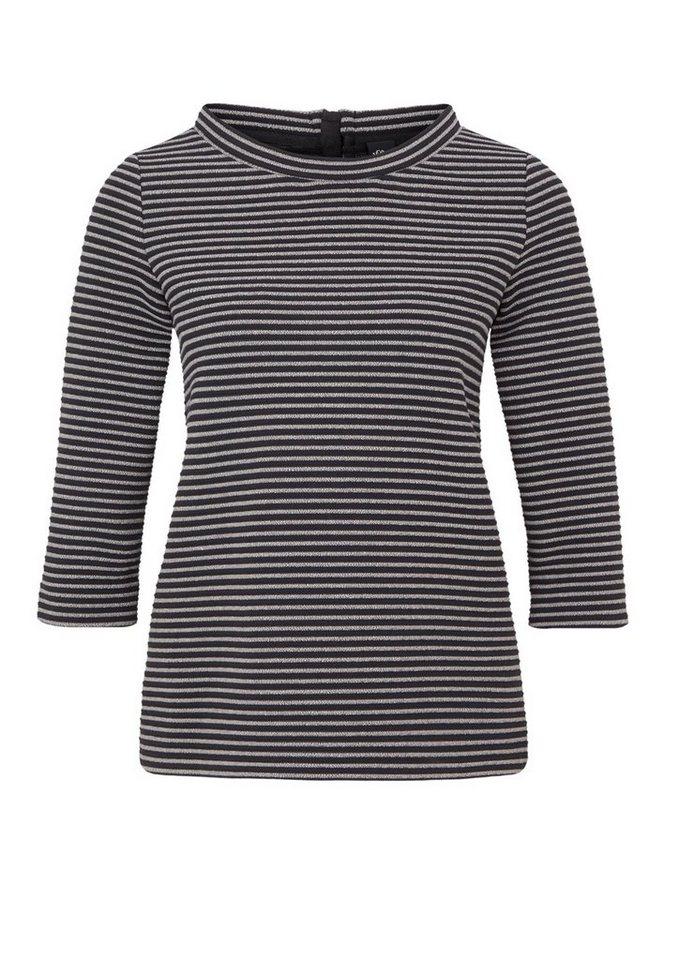 s.Oliver BLACK LABEL 3/4-Shirt mit Ringelstruktur in grey/black structure