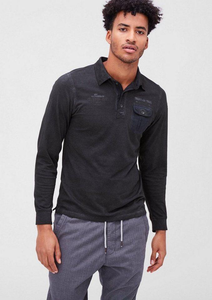 s.Oliver RED LABEL Schmales Garment Dye-Poloshirt in black melange
