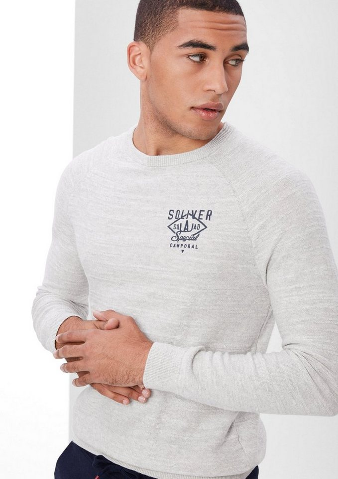 s.Oliver RED LABEL Strickpullover mit Stitching in marble