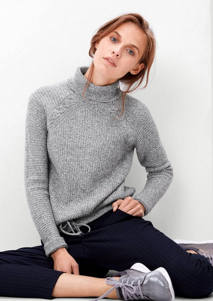 s.Oliver RED LABEL Rollkragenpullover mit Wolle in grey melange knit
