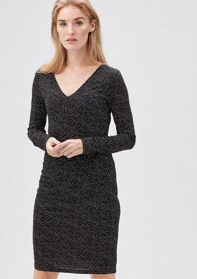 s.Oliver BLACK LABEL Mesh-Kleid mit Drapé-Effekt in grey/black uma back