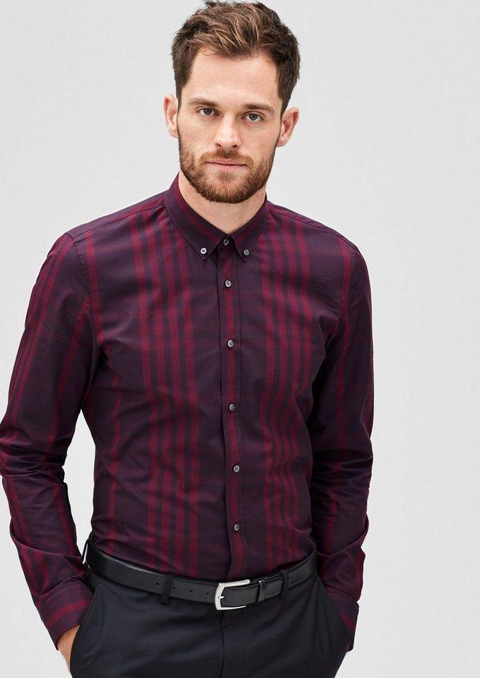 s.Oliver BLACK LABEL Slim: Kariertes Button-Down-Hemd in sherry check