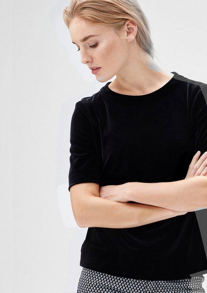 s.Oliver BLACK LABEL Festliches Velvet-Shirt in love black