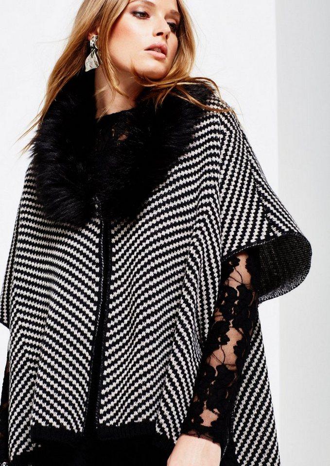 COMMA Warmer Strickponcho mit Fake-Fur Kragen in black knit zickzack