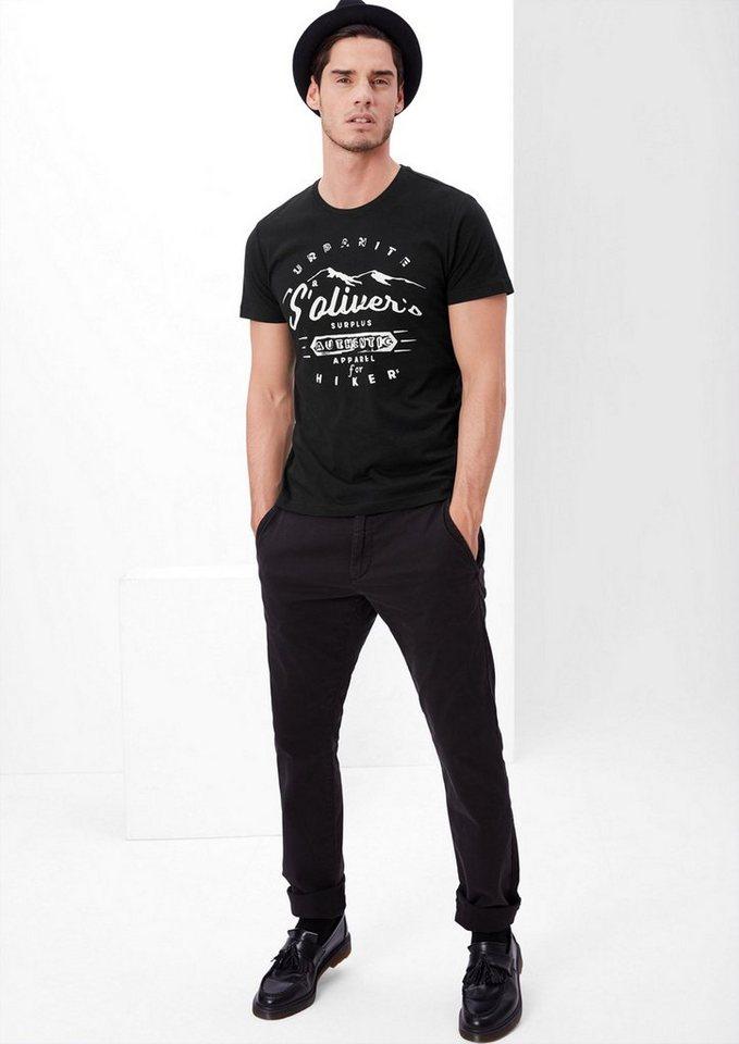s.Oliver RED LABEL T-Shirt mit Hiker-Print in black