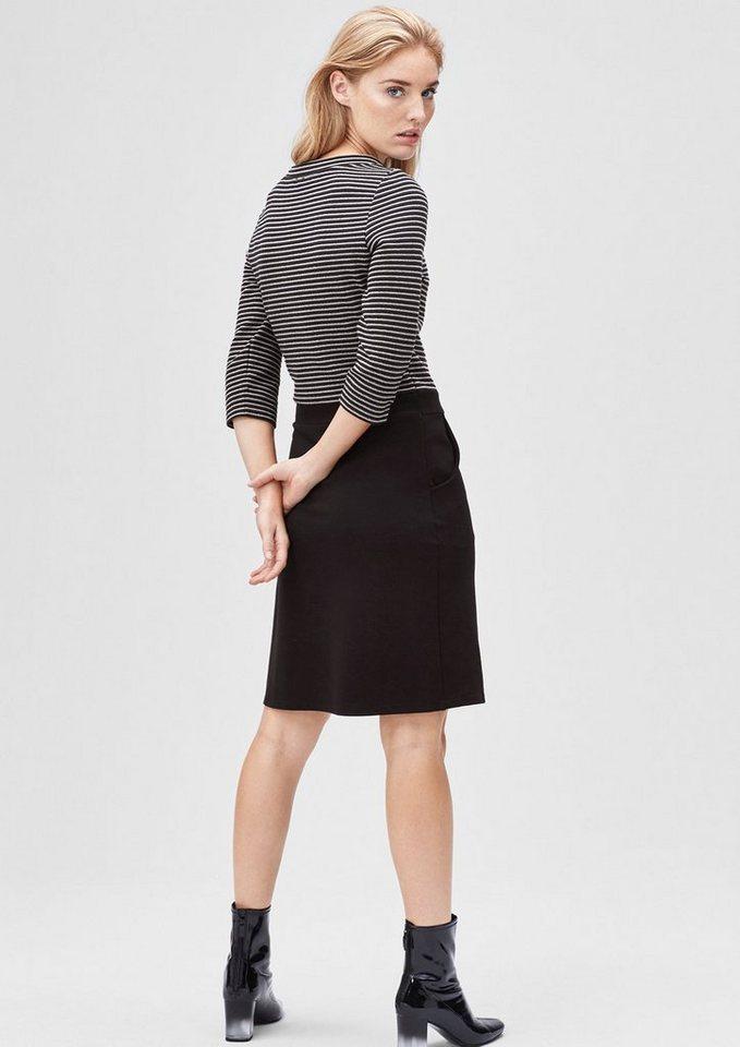 s.Oliver BLACK LABEL Stretch-Kleid mit Ringelstruktur