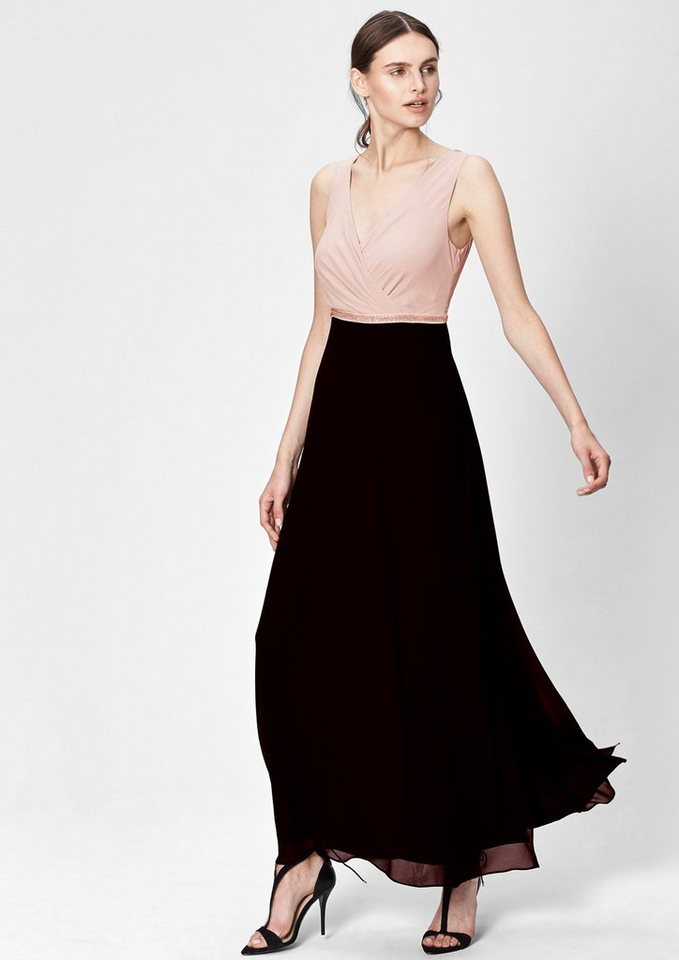 s.Oliver BLACK LABEL Cache Coeur-Kleid aus Chiffon in cafe latte