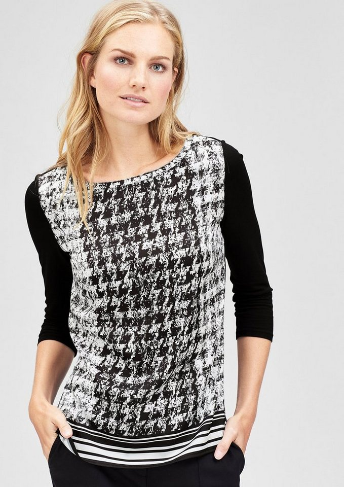 s.Oliver BLACK LABEL Blusenshirt mit Hahnentritt-Muster in black placed print