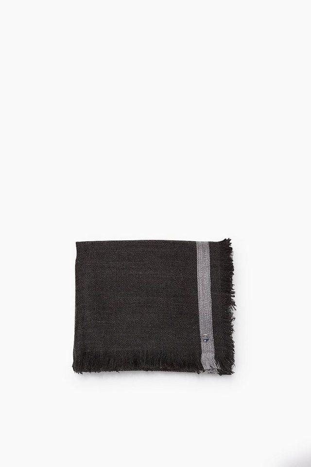 ESPRIT CASUAL Leichtes Webtuch mit Streifen, Woll-Mix in BLACK