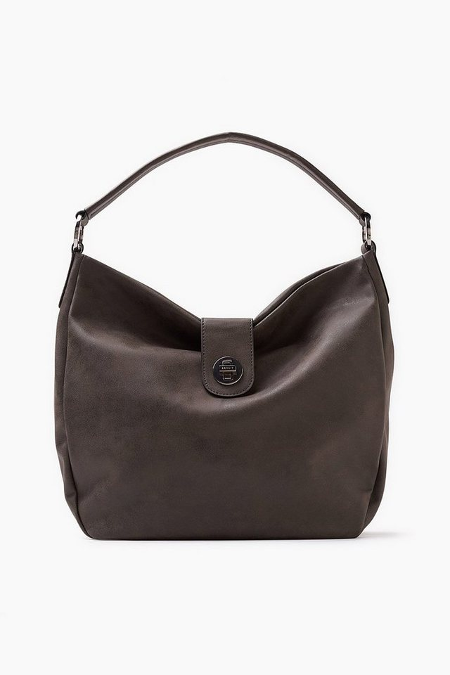 ESPRIT CASUAL Hobo Bag in gebrushter Lederoptik in BROWN GREY