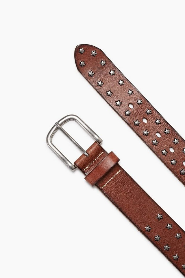 ESPRIT CASUAL Vintage Ledergürtel mit Stern-Nieten in RUST BROWN