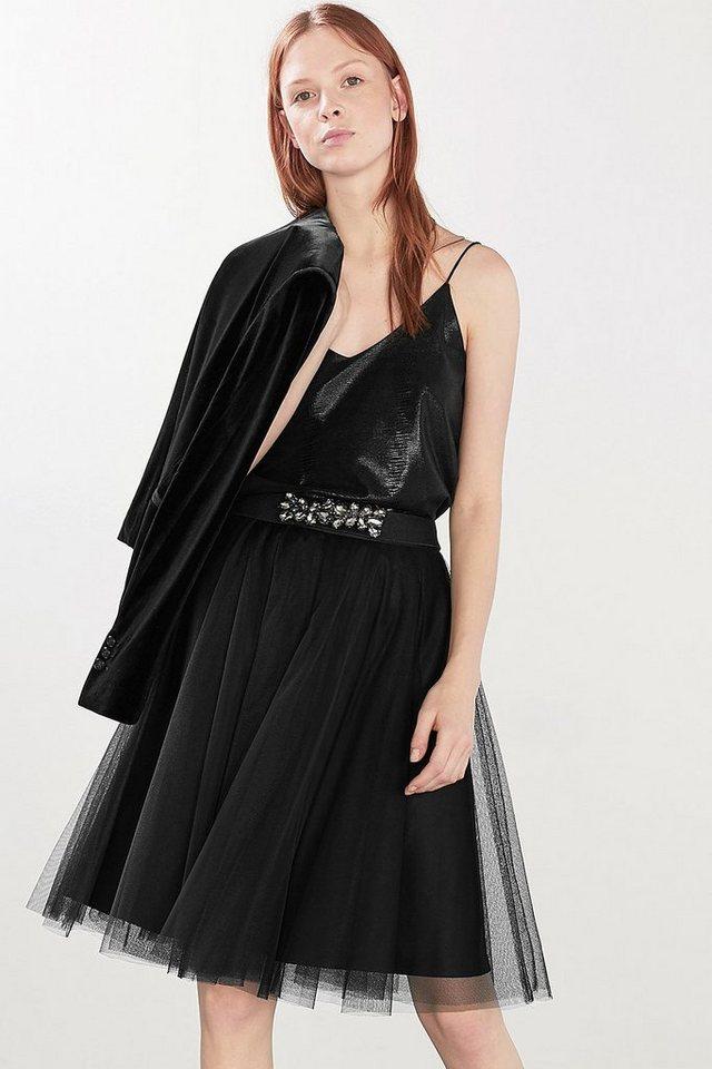 ESPRIT CASUAL Elastischer Gürtel mit großen Glanzsteinen in BLACK