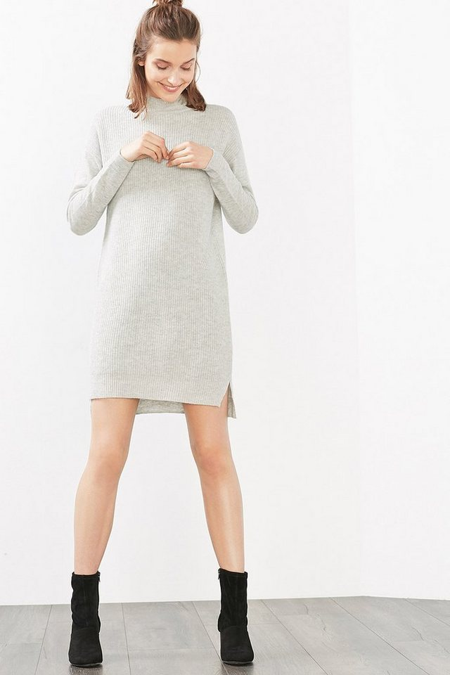 ESPRIT CASUAL Ripp-Strick-Kleid aus Wolle in LIGHT GREY