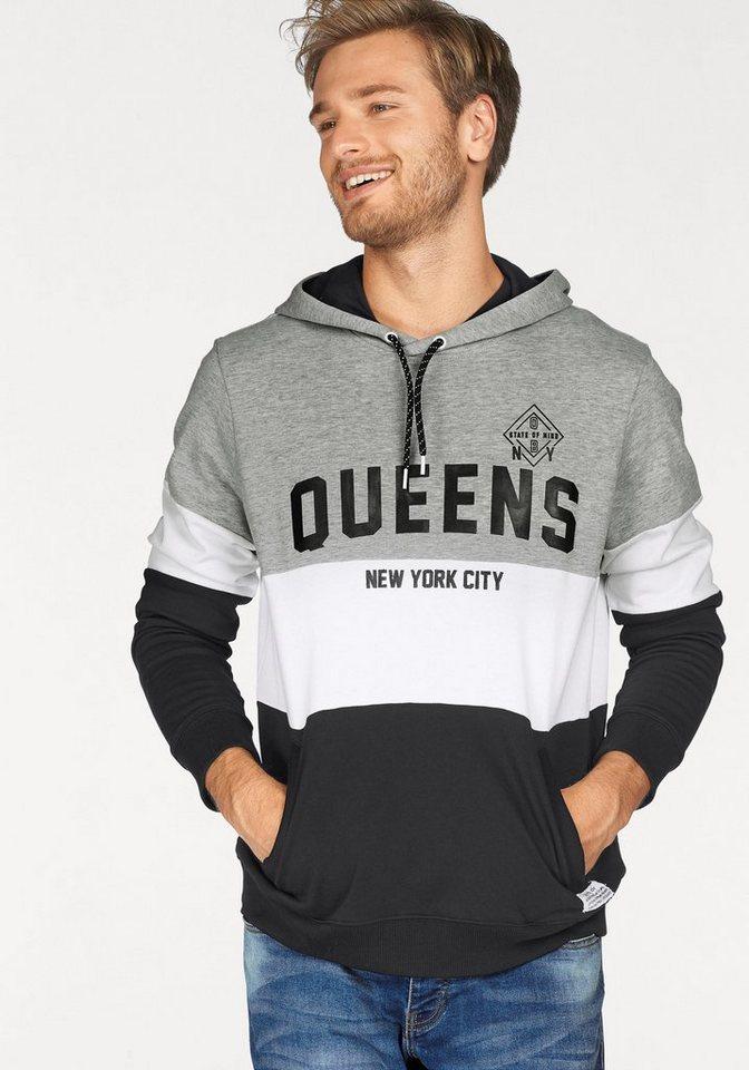 John Devin Kapuzensweatshirt in grau-meliert-schwarz-weiß
