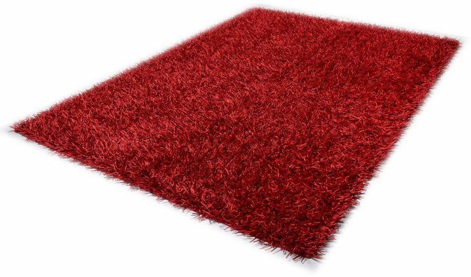 Hochflor-Teppich, Theko, »Shaggy Cora«, Höhe 35 mm, handgetuftet in rot