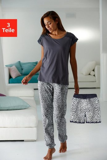 Vivance Dreams Pyjamaset (3 tlg.) in Leomuster mit Spitze