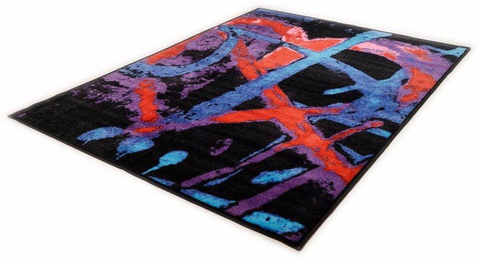 Teppich, Theko, »Tokio Heart« in schwarz bunt