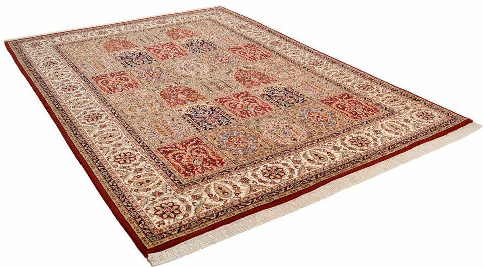 Teppich, Theko, »Baktyari N«, reine Schurwolle, handgetuftet in rot creme