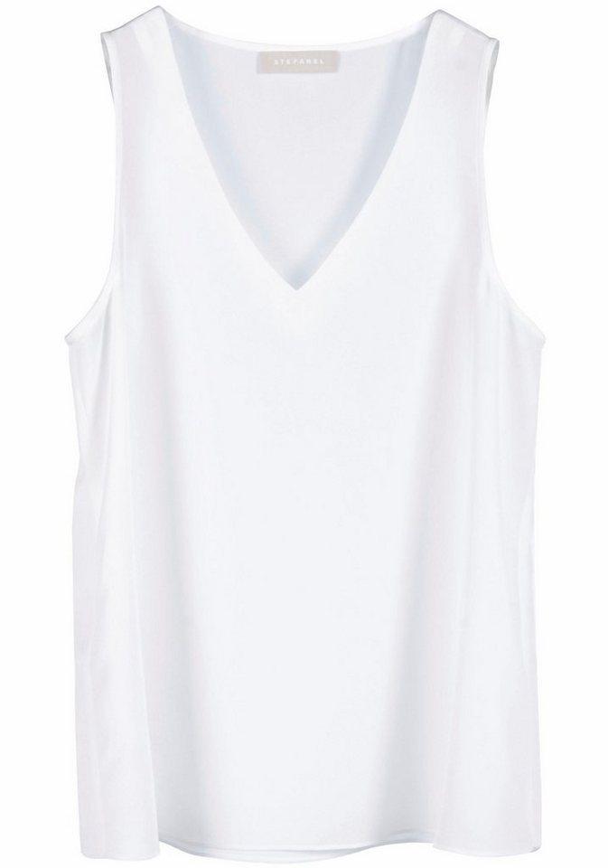 STEFANEL Longtop mit tiefen V-Ausschnitt in weiß
