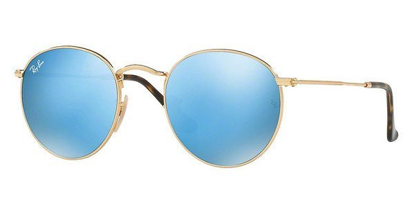 RAY-BAN Sonnenbrille »ROUND METAL RB3447N« in 001/9O - gold/blau