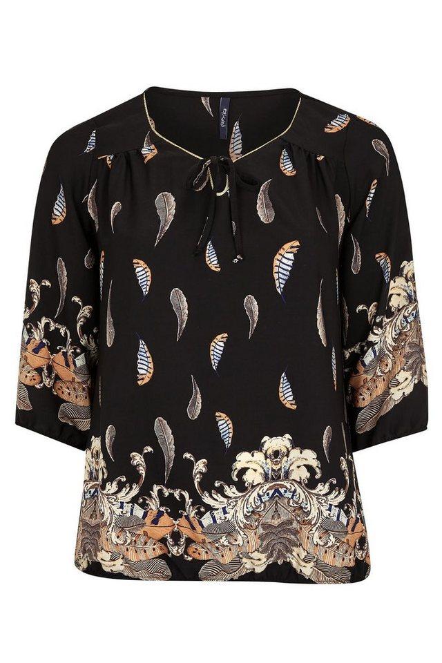 Paprika Klassische Bluse »Bluse mit Federaufdruck« in schwarz