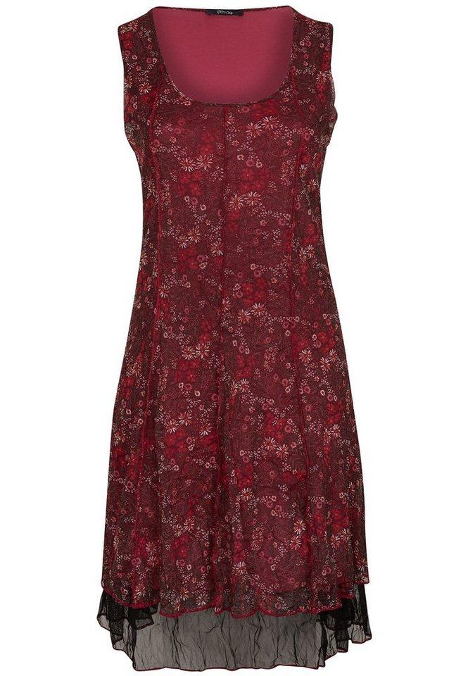 Paprika Druckkleid »Langes Kleid aus Netzgewebe mit Blumenaufdruck« in lila