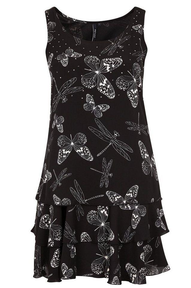 Paprika Druckkleid »Kleid aus Krepp, bedruckt und mit Strass-Regen« in schwarz