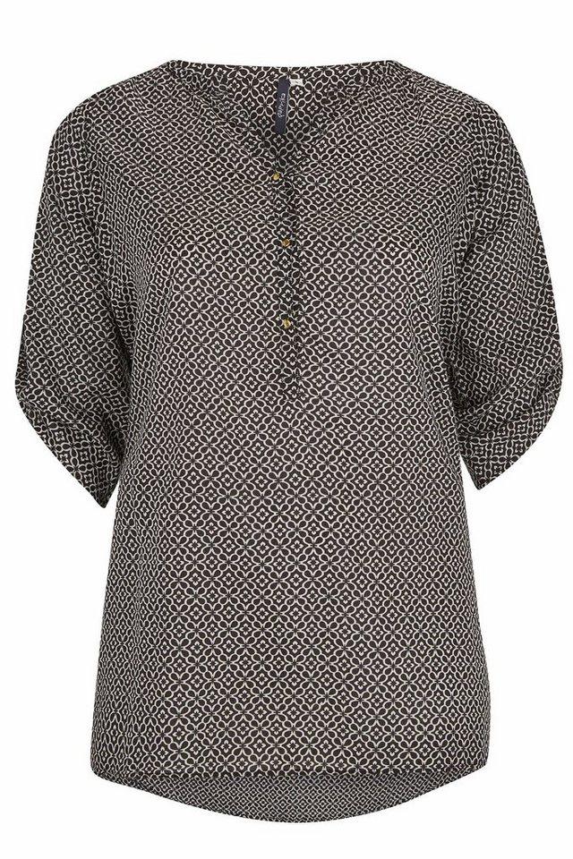Paprika Longbluse »Lange Bluse mit tunesischem Kragen« in schwarz