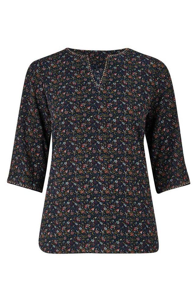Paprika Klassische Bluse »Mit Blumen und Stiften bedruckte Bluse« in blau