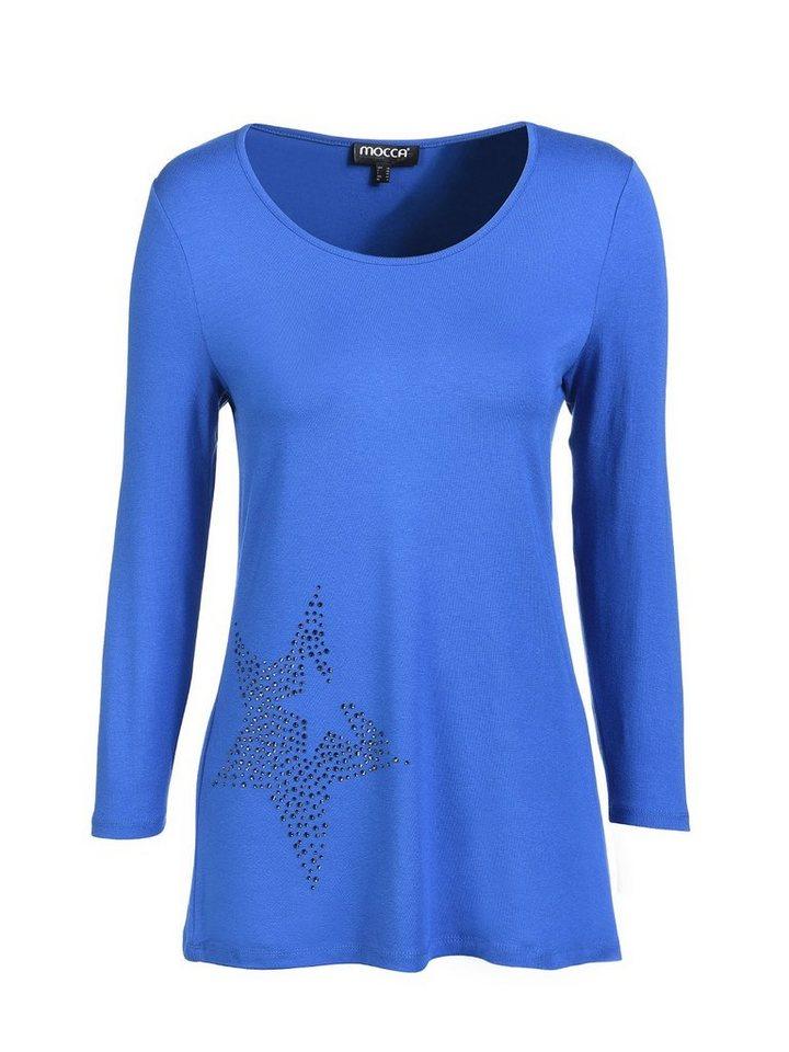 Mocca by J.L. Rundhalsshirt »mit Sterndetail« in blau