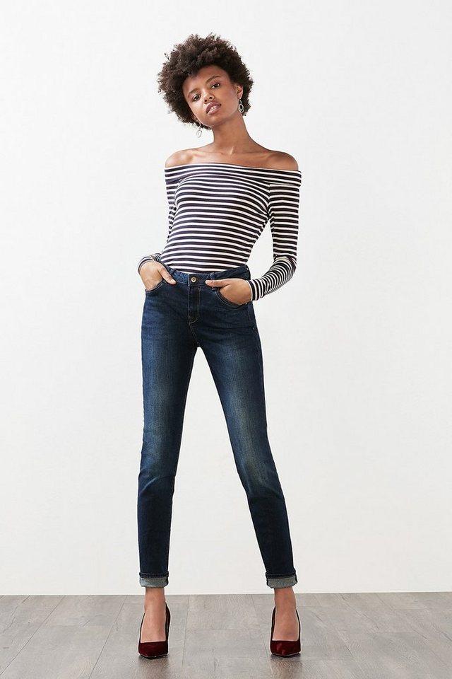 EDC 5-Pocket Jeans aus Stretch-Denim in BLUE DARK WASHED