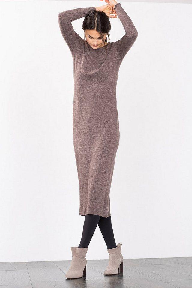 ESPRIT CASUAL Überlanges Strickkleid mit Kaschmir-Touch in TAUPE