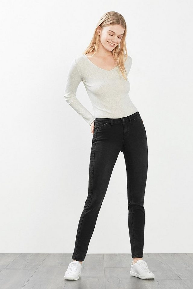 ESPRIT CASUAL Stretch-Denim mit seitlichen Zierblenden in BLACK DARK WASHED