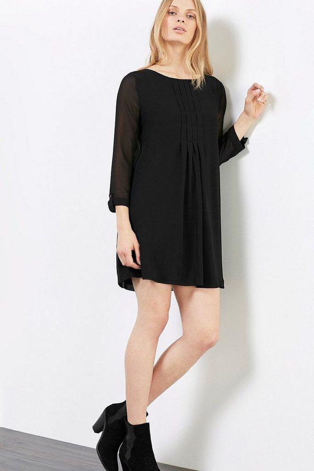 EDC Swing-Kleid aus zartem Chiffon in BLACK